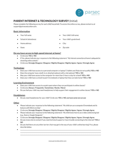 Parent Internet & Technology Survey