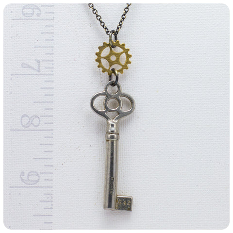 Skeleton Key Necklace w/ Gear