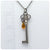 Skeleton Key Necklace w/ Crystal