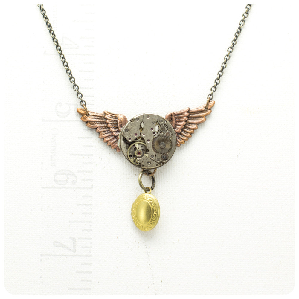 Copper Winged Necklace w/ Locket