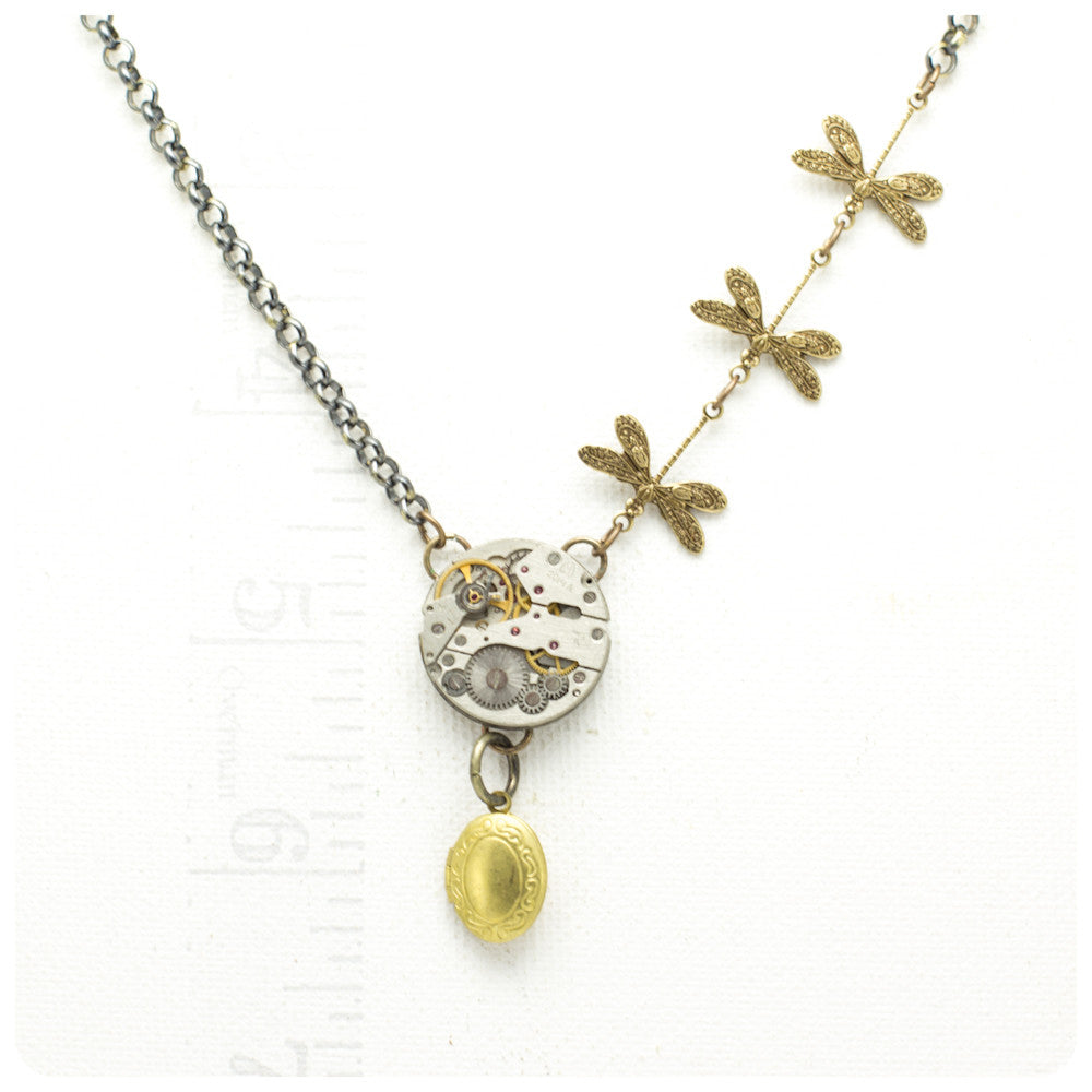 Watch Mechanism Necklace w/ Locket
