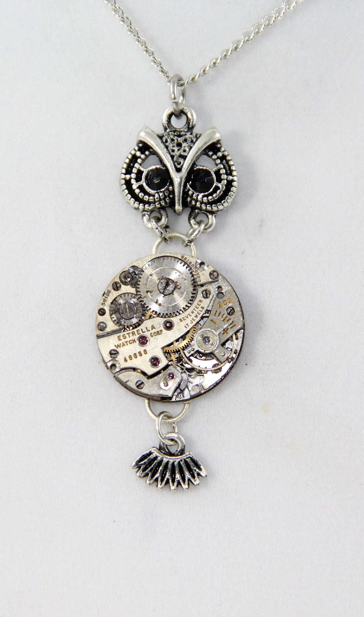 Owl Necklace, owl pendant, steampunk