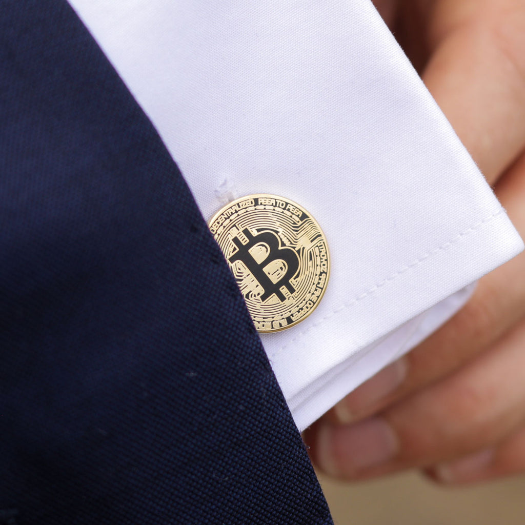 Kryptoez Bitcoin Gold Cufflinks