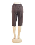 Women's Pull On Capri in Wholesale Packs. DARK BROWN | Made in the USA. #4311