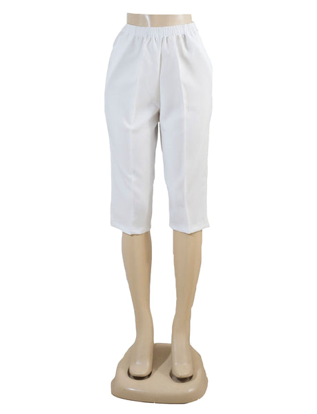 Women's Pull On Capri in Wholesale Packs. WHITE | Made in the USA. #4311