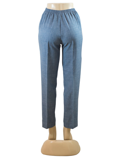 Women's Cross Dye Pull On Dress Pants in Wholesale Packs. Light Denim | Made in the USA. #4456
