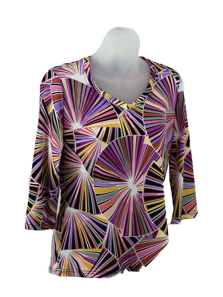 Women's V Neck 3/4 Slv Blouses in Wholesale Packs. Print #131 | Made in the USA. #1137PR131