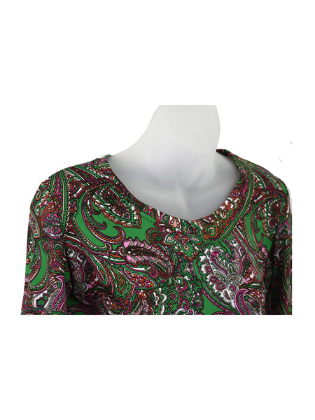 Women's V Neck 3/4 Slv Blouses in Wholesale Packs. Print #130| Made in the USA. #1137PR130