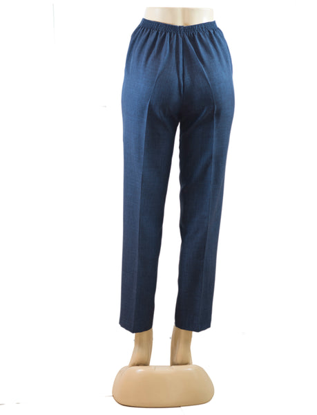 Women's Cross Dye Pull On Dress Pants in Wholesale Packs. Navy Denim | Made in the USA. #4456