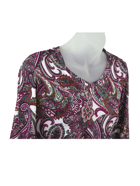 Women's V Neck 3/4 Slv Blouses in Wholesale Packs. Print #132 | Made in the USA. #1137PR132
