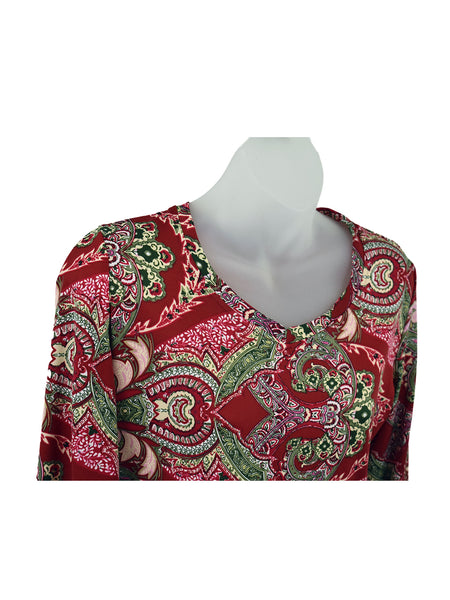 Women's V Neck 3/4 Slv Blouses in Wholesale Packs. Print #116 | Made in the USA. #1137PR116