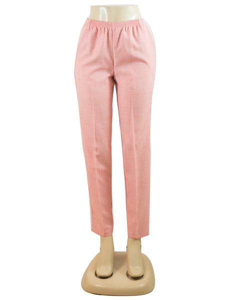 Women's Cross Dye Pull On Dress Pants in Wholesale Packs. Coral | Made in the USA. #4456