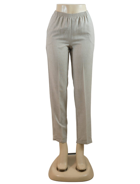 Women's Cross Dye Pull On Dress Pants in Wholesale Packs. Light Beige | Made in the USA. #4456