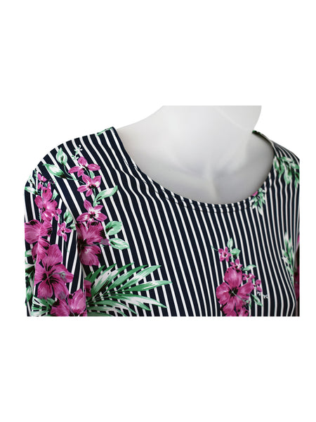 Women's Scoop Neck 3/4 Slv Blouses in Wholesale Packs. Print 112 - Made in the USA. #1022PR