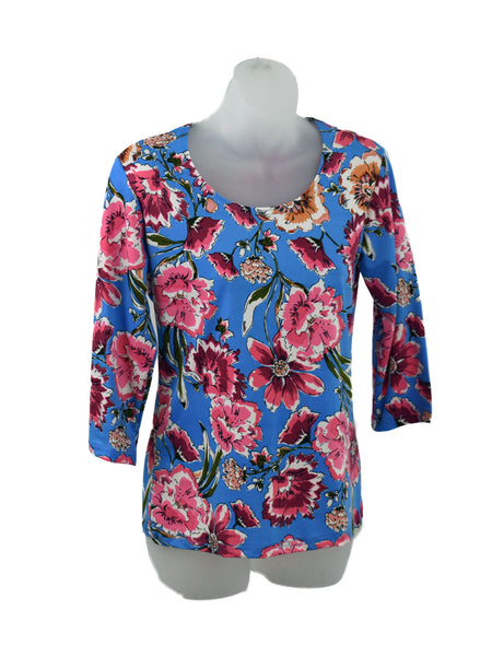 Women's Scoop Neck 3/4 Slv Blouses in Wholesale Packs. Print 160 - Made in the USA. #1022PR