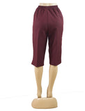 Women's Pull On Capri in Wholesale Packs. BURGUNDY | Made in the USA. #4311