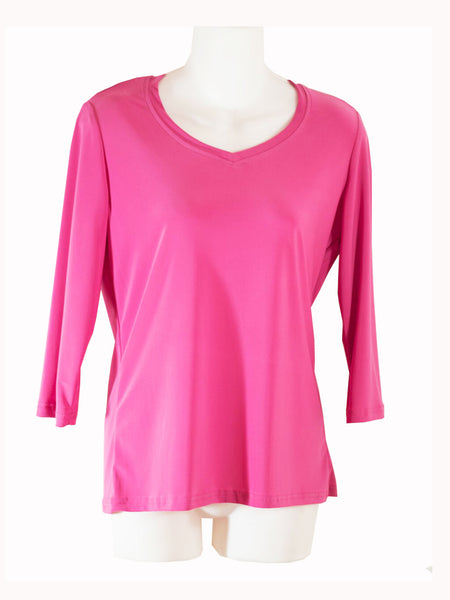 Womens Fuchsia V Neck 3/4 Slv Blouses Wholesale Pack. Made in the USA. #1137PR150