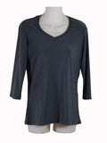 Womens Charcoal V Neck 3/4 Slv Blouses Wholesale Pack. Made in the USA. #1137PR151