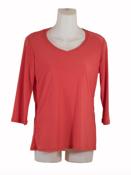 Womens Coral V Neck 3/4 Slv Blouse Wholesale Pack. Made in the USA. #1137PR152