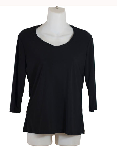 Womens Black V Neck 3/4 Slv Blouses Wholesale Pack. Made in the USA. #1137PR148