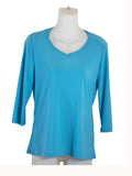 Womens Turquoise V Neck 3/4 Slv Blouses Wholesale Pack. Made in the USA. #1137SL145