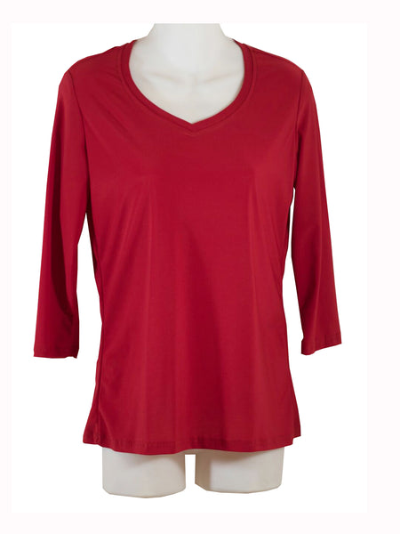 Womens Red V Neck 3/4 Slv Blouses Wholesale Pack. Made in the USA. #1137PR07