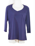 Womens Puple V Neck 3/4 Slv Blouses Wholesale Pack. Made in the USA. #1137SL147
