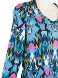 Women's V Neck 3/4 Slv Blouses in Wholesale Packs. Print #13 | Made in the USA. #1137PR13