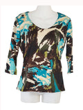 Women's Scoop Neck 3/4 Slv Blouses in Wholesale Packs. Print 02 - Made in the USA. #1022PR