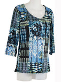 Women's Scoop Neck 3/4 Slv Blouses in Wholesale Packs. Print 04 - Made in the USA. #1022PR