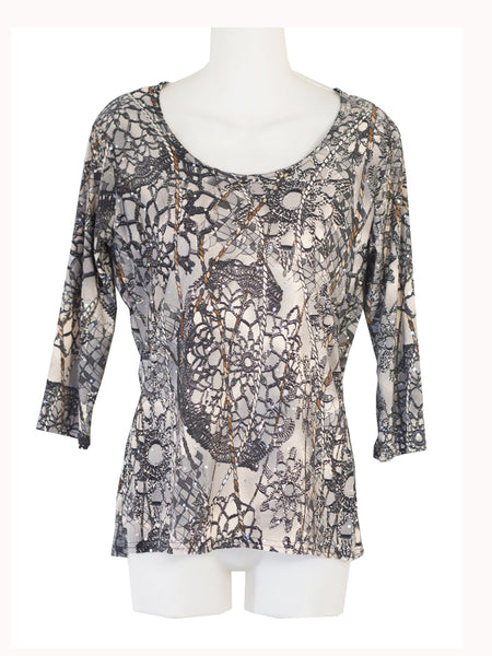 Women's Scoop Neck 3/4 Slv Blouses in Wholesale Packs. Print 07 - Made in the USA. #1022PR