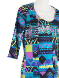 Women's Scoop Neck 3/4 Slv Blouses in Wholesale Packs. Print 08 - Made in the USA. #1022PR
