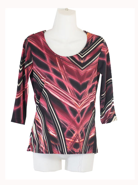 Women's Scoop Neck 3/4 Slv Blouses in Wholesale Packs. Print 09 - Made in the USA. #1022PR