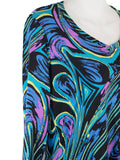 Women's V Neck 3/4 Slv Blouses in Wholesale Packs. Print #19 | Made in the USA. #1137PR19