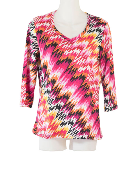 Women's V Neck 3/4 Slv Blouses in Wholesale Packs. Print #15 | Made in the USA. #1137PR15