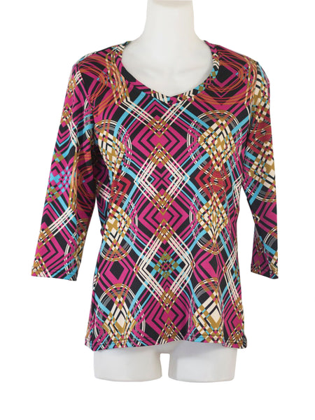 Women's V Neck 3/4 Slv Blouses in Wholesale Packs. Print #18 | Made in the USA. #1137PR18