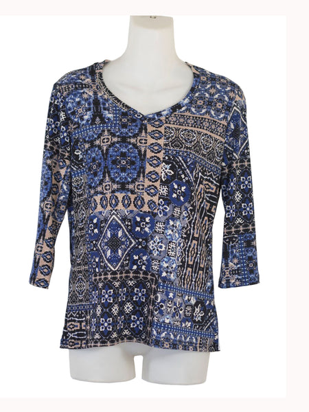 Women's V Neck 3/4 Slv Blouses in Wholesale Packs. Print #22 | Made in the USA. #1137PR22