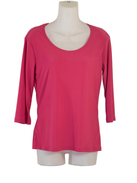 Women's Scoop Neck 3/4 Slv Blouses in Wholesale Packs. Color: Fuschia 177 | Made in the USA. #1022SL