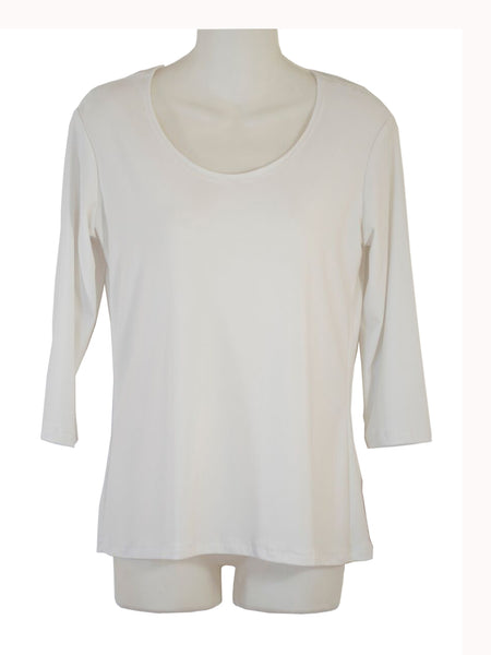 Women's Scoop Neck 3/4 Slv Blouses in Wholesale Packs. Color: White | Made in the USA. #1022SL