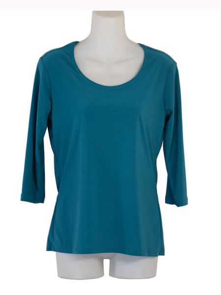 Women's Scoop Neck 3/4 Slv Blouses in Wholesale Packs. Color: Teal 181 | Made in the USA. #1022SL