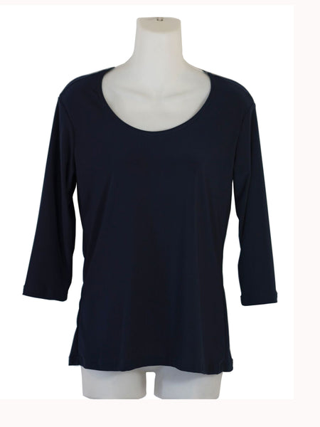 Women's Scoop Neck 3/4 Slv Blouses in Wholesale Packs. Color: Black 183| Made in the USA. #1022SL