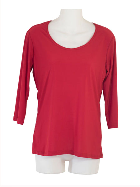 Women's Scoop Neck 3/4 Slv Blouses in Wholesale Packs. Color: Red 176 | Made in the USA. #1022SL