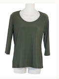 Women's Scoop Neck 3/4 Slv Blouses in Wholesale Packs. Color: Jade | Made in the USA. #1022SL