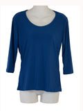 Women's Scoop Neck 3/4 Slv Blouses in Wholesale Packs. Color: Royal Blue 179 | Made in the USA. #1022SL
