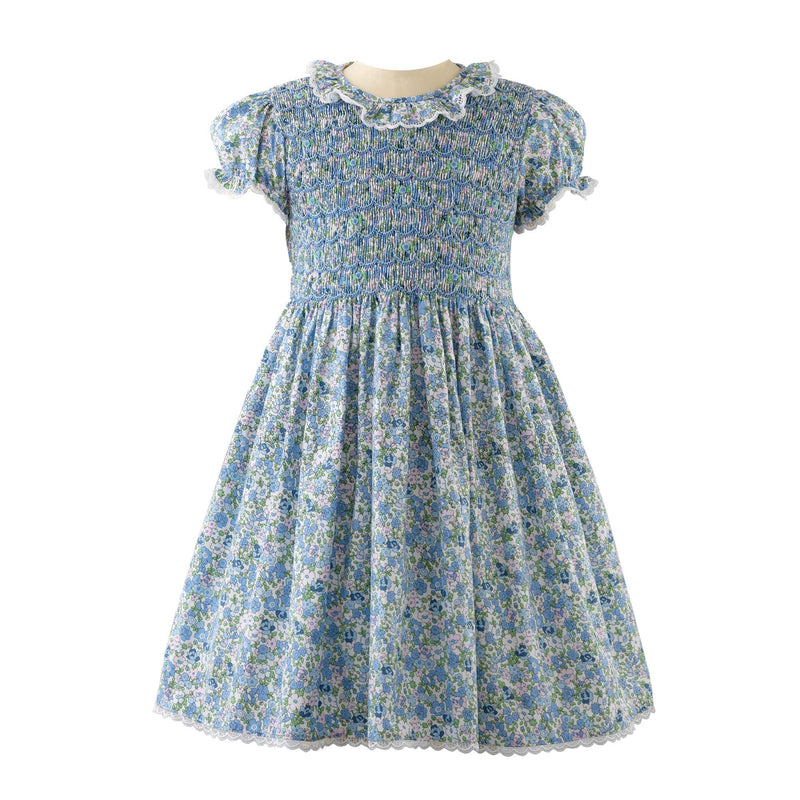 Lace Trim Floral Smocked Dress