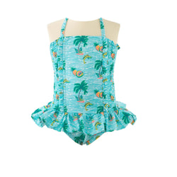 Tropical Ruched Swimsuit