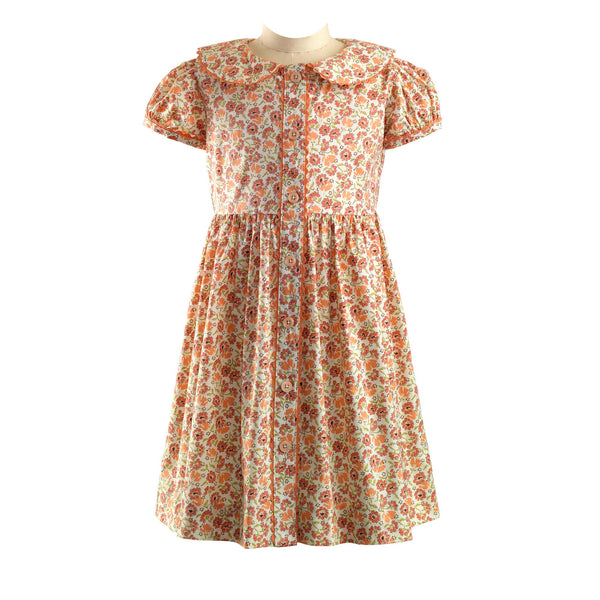 Coral Bouquet Button Front Dress