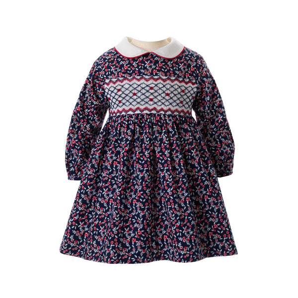 Winter Floral Smocked Dress & Bloomer