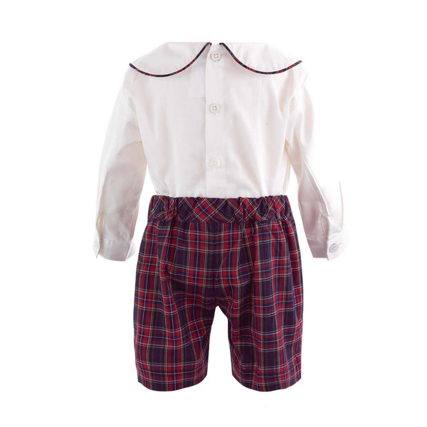 Pintuck Shirt & Tartan Short Set