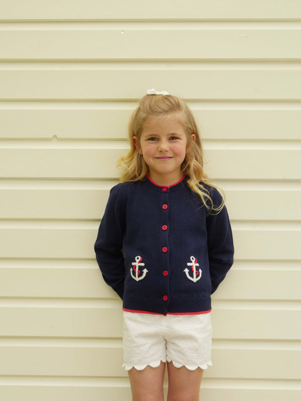 Girls Nautical Navy Anchor Summer Cardigan